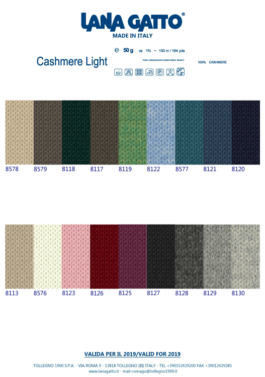 Lana gatto Cashmere Light fargekart